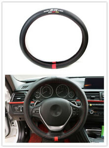 1pcs For Mugen Power Black Carbon Fiber Luxury Car Non Slip Steering Wheel Cover
