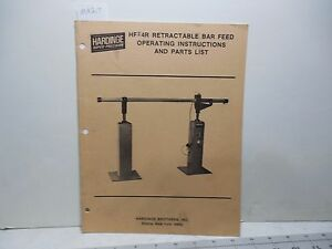 Hardinge Hf 4r Retractable Bar Feed Operating Part Instructions Ma217
