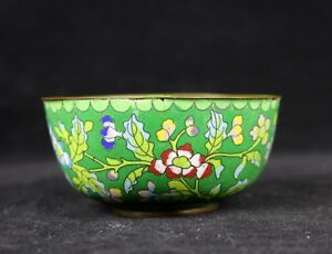 Antique Chinese Green Cloisonne Floral Flower Bowl 4 D Late Qing Republic