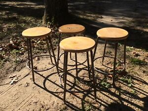 Vintage Industrial Stools 4 Mid Century Modern Bar Shop Machinist Lab Steampunk