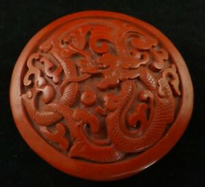 Antique Chinese Carved Cinnabar Round Lidded Box Dragon Early 20th 2 7 8 D