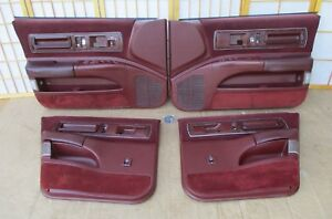 91 96 Chevy Caprice Impala Roadmaster Maroon 4dr Interior Power Door Panel Set