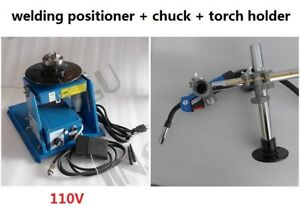 110v Rotary Welding Positioner Turntable 2 5 3 Jaw Lathe Chuck Torch Holder
