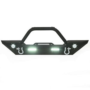 Fit 07 18 Jeep Wrangler Jk Front Bumper W Winch Plate D ring Led Light Bull Bar