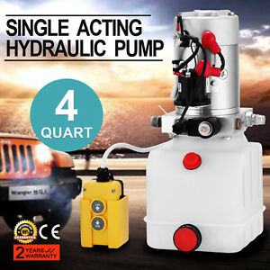 4 Quart Single Acting Hydraulic Pump Dump Trailer Lifting Repair Remote Great