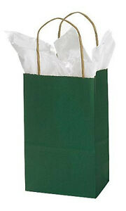 Paper Bags 100 Hunter Green Retail Gift Merchandise Shopping 5 X 3 X 8