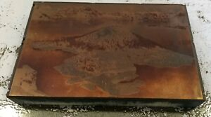 Crater Lake Wizard Island Copper Printing Block Letterpress Plate 1933 Oregon