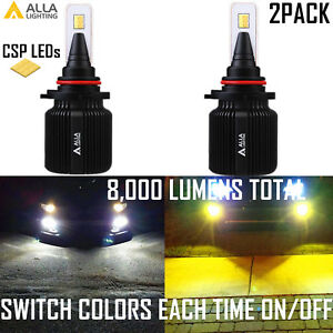 Alla 9006 Led Switchback fog Light Bulb headlight White Yellow Bi color Changing