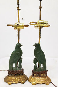 Antique Chinese Nephrite Jade Carved Bird Lamps Gilt Bronze Bases Phoenix