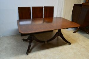 Baker Mahogany Banded Dining Table 3 Leaves As Is