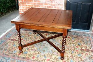 English Antique Oak Barley Twist Draw Leaf Kitchen Dining Table