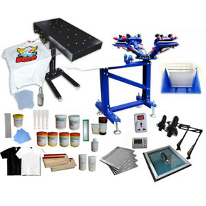 Adjustable 4 Color 1 Station Screen Printing Kit Silk Screen Press