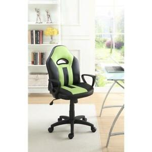 Leatherette Cushioned Office Chair Black And Green