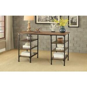 Counter Height Writing Desk With Wooden Top Shelves Brown Black