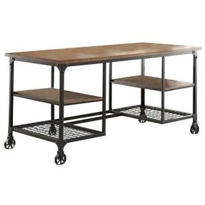 Metallic Writing Desk With Wooden Top And Shelves Brown Black
