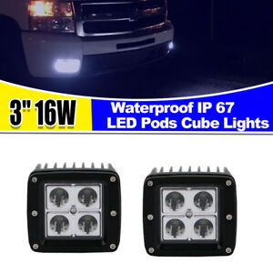 2pcs 16w Led Pod Light A pillar Bumper Fog Cubic Lamp For 16 up Toyota Tacoma 3