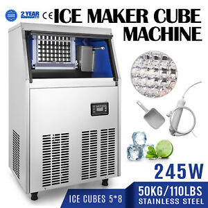 50kg 110lbs Commercial Ice Cube Maker Machine 40 Cases Bars Snack Bars 310w