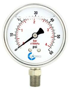 2 1 2 Pressure Gauge Stainless Steel Case Liquid Filled Lower Mnt 60 Psi