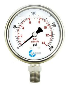 2 1 2 Pressure Gauge Stainless Steel Case Liquid Filled Lower Mnt 200 Psi