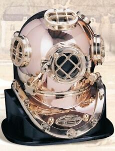 Deluxe Mark V Dive Helmet With A Wooden Base 18
