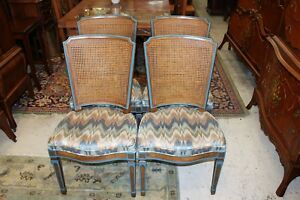 American Set Of 4 Upholstered Henredon Cain Back Chairs Dining Room Furniture