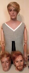 Antique Table Stand Male Mannequin With Three Different Heads All Bad Hair Day