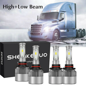 Fit 04 17 Freightliner Cascadia Truck Led Headlight Conversion Kit High Low Beam