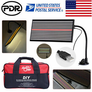 Us Pdr Tools Led Line Board 2 Side Light Paintless Dent Repair Hail Removal Bag