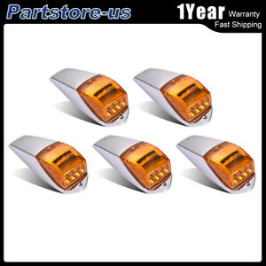 5pcs Amber 17led Clearence Cab Marker Light For Kenworth Freightliner Universal