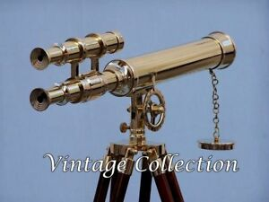 Antique Nautical Navy Brass Double Barrel Telescope 18 With Wooden Tripod Stand