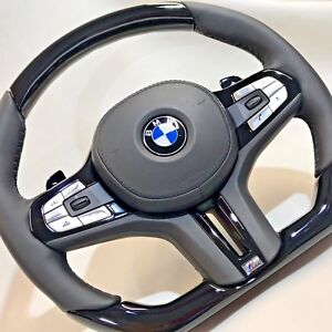 Bmw G11 G12 G30 G01 G02 G05 Piano Black Wood Leather Steering Wheel Complete