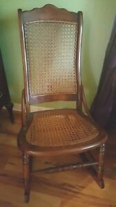 Antique 1860 1890 Wooden Adult S Rocking Chair Sewing Nursing Cane Seat
