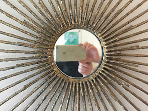 Sunburst Brutalist Iron Wall Sculpture With Mirror Artist Handmade