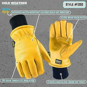 Wells Lamont Water Resistant Very Warm Leather Work Gloves Thinsulate Grain