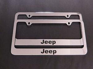 2 Jeep Stainless Steel Metal Chrome License Plate Frame
