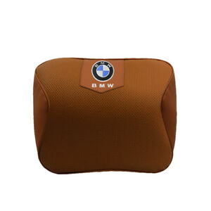 Brown Real Leather Car Seat Memory Foam Neck Rest Cushion Pillow Fit For Bmw Car