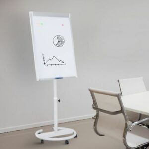 Rolling Whiteboard Easel 28 X 40 Magnetic Height Adjustable W Wheels