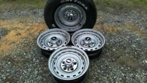 1973 87 Chevy gm Truck blazer 15x8 5 Lug Rally Steel Wheels Trimrings centercaps