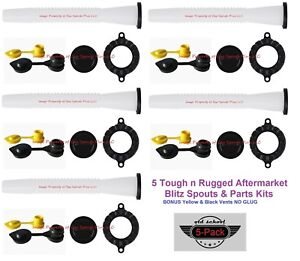 5 Pack Blitz Gas Can Spouts Parts Kits Free Air Breather Vents Tough N Rugged
