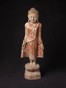 Middle 20th Century Old Wooden Mandalay Buddha Statue From Burma