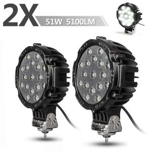 2x 7 Round Led Offroad Pod Lights Bar 51w Black Driving Lamp Headlight Offroad