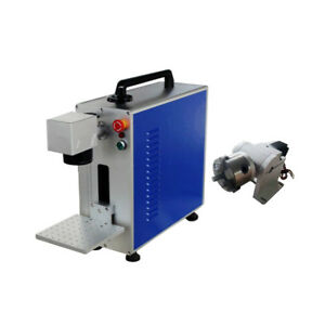 Portable 20w Fiber Laser Marking And Engraving Machine Ratory Axis Include Usa