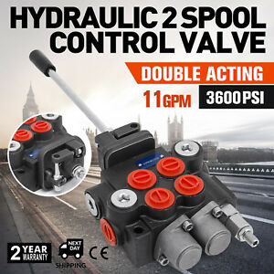 2 Spool Hydraulic Control Valve Double Acting 11 Gpm 3600 Psi Sae Ports New