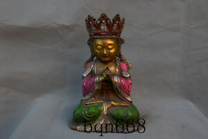 Ming Yongle Mark Old Antique Bronze Gilt Painting Cloisonne Ksitigarbha Statue