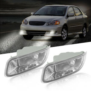 Pair Front Clear Lens Fog Light Driving Lamps Kit For Toyota Corolla 2003 2004