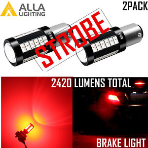 Alla P21w 7528 Legal Red Strobe 33 Led Brake Light Bulb Parking Tail Turn Signal