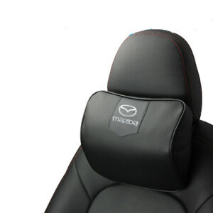 Black Real Leather Car Seat Memory Foam Neck Rest Cushion Pillow For Mazda Auto