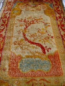 Antique Prayer Oushak Angora Wool Turkish Hand Knotted Oriental Rug 3 4 X6