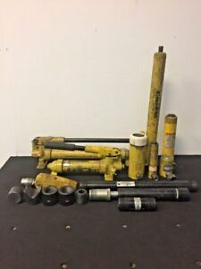 Lot Of 16 Enerpac Hydraulic Hand Pumps Cylinders And Attachments