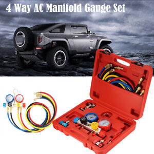 Refrigeration Air Conditioning Ac Diagnostic Manifold Gauge Tool Set Us Stock